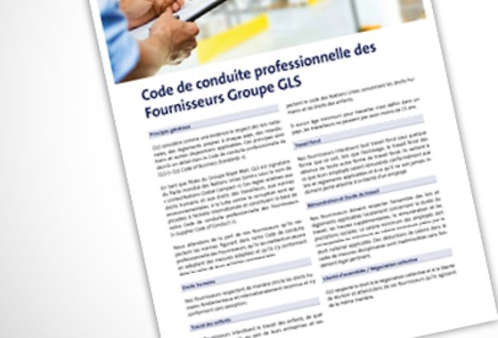 Extract from the professional code of conduct for GLS France suppliers