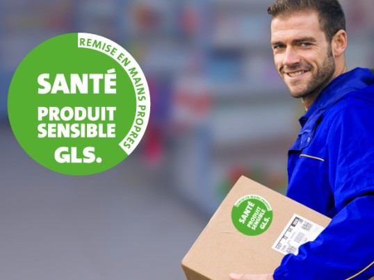 GLS France driver medicine packages green label health sensitive product